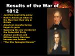 results of the war of 1812