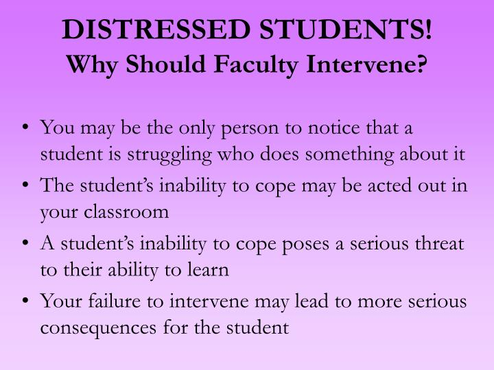 DISTRESSED STUDENTS!