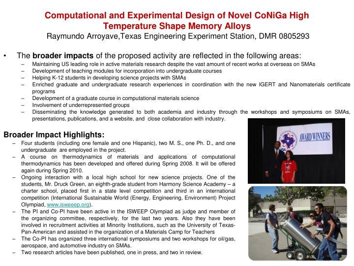 Computational and Experimental Design of Novel CoNiGa High Temperature Shape Memory Alloys