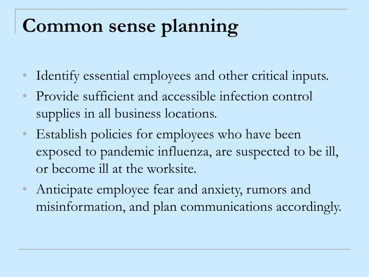 Common sense planning