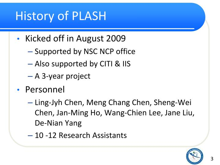 History of PLASH
