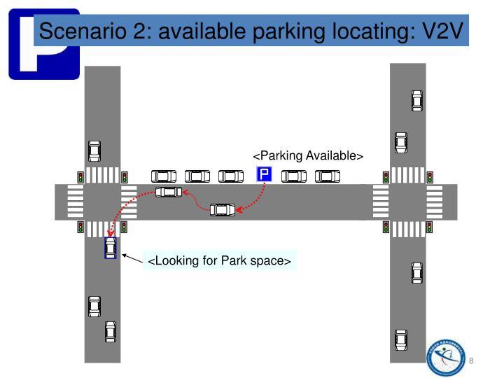Scenario 2: available parking locating: V2V