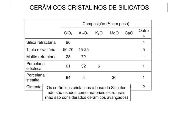 CERÂMICOS CRISTALINOS DE SILICATOS