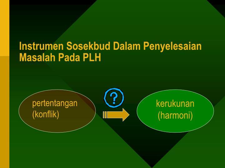 Instrumen Sosekbud Dalam Penyelesaian  Masalah Pada PLH