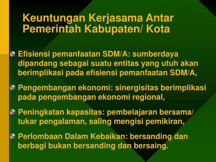 Keuntungan Kerjasama Antar Pemerintah Kabupaten/ Kota