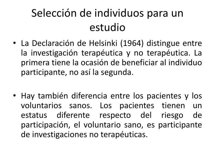Selección de individuos para un estudio