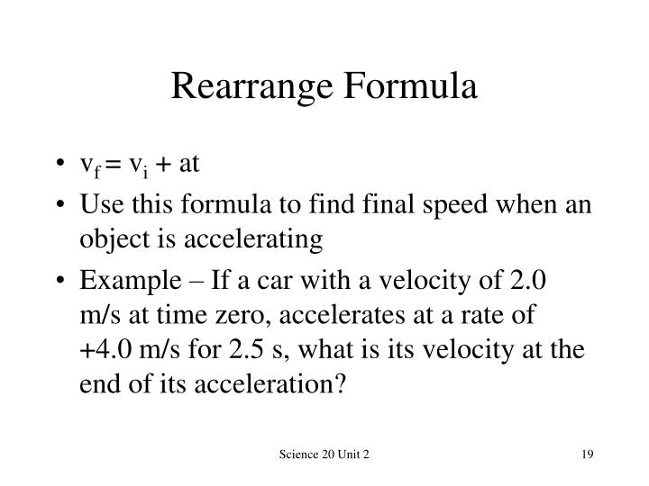 Rearrange Formula