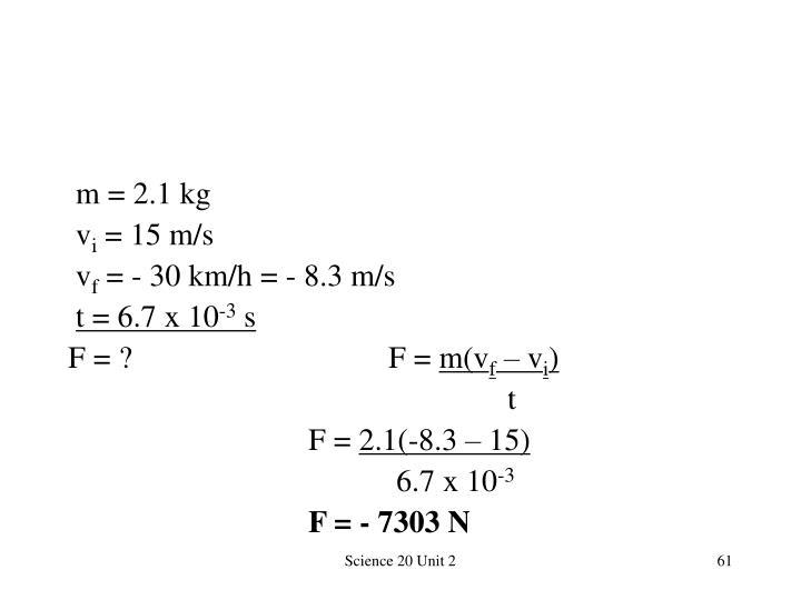 m = 2.1 kg