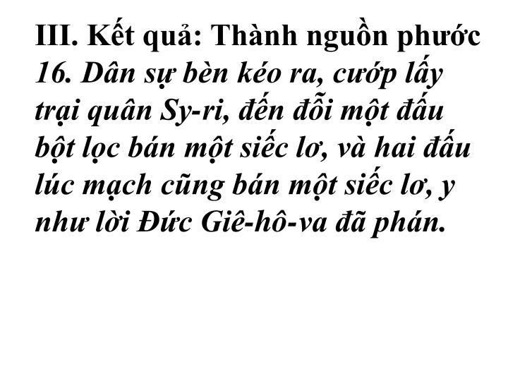 III. Kt qu: Thnh ngun phc
