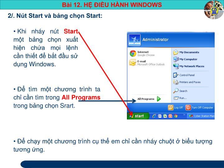 2/. Nút Start và bảng chọn Start:
