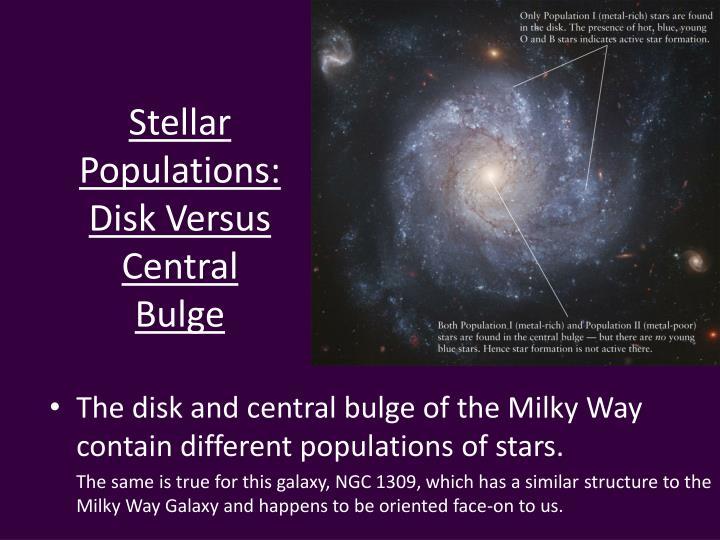Stellar Populations: Disk Versus Central Bulge