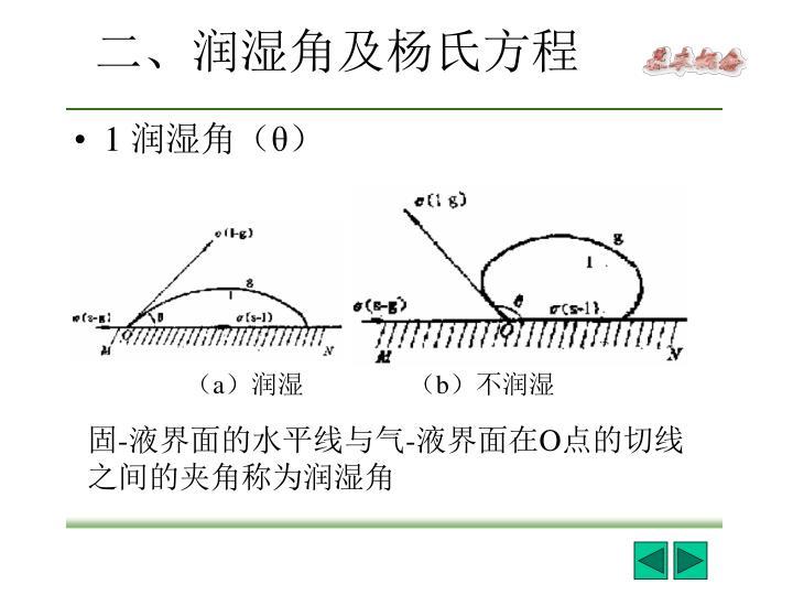 二、润湿角及杨氏方程