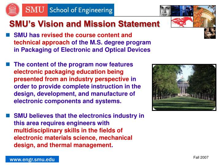 SMU's Vision and Mission Statement