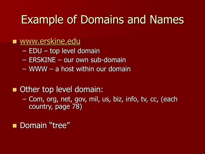 Example of Domains and Names