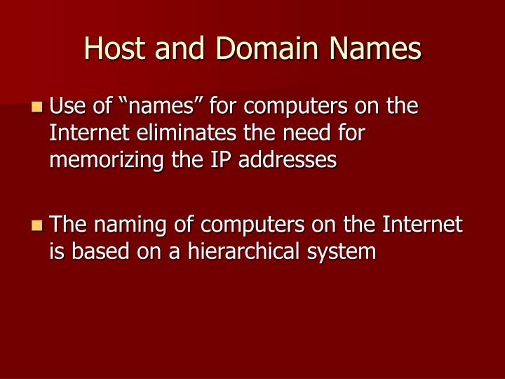 Host and Domain Names