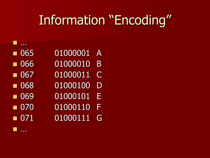 "Information ""Encoding"""
