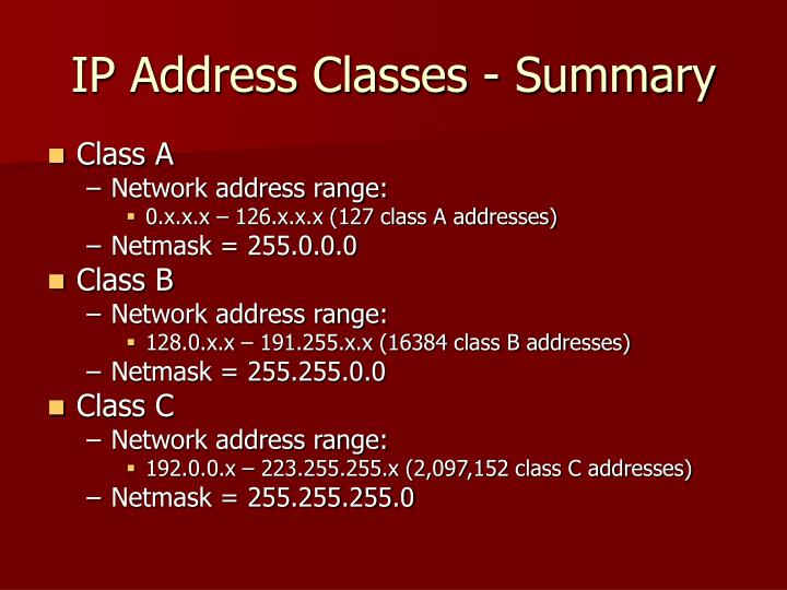 IP Address Classes - Summary