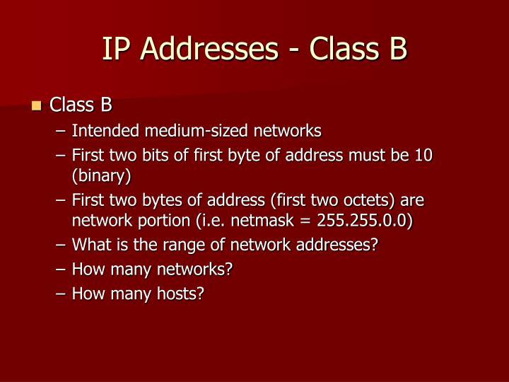 IP Addresses - Class B