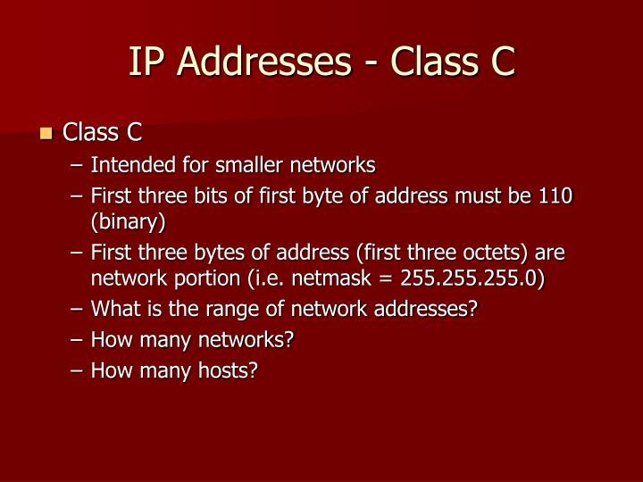 IP Addresses - Class C