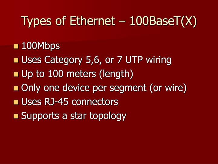 Types of Ethernet – 100BaseT(X)