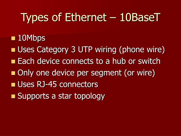 Types of Ethernet – 10BaseT