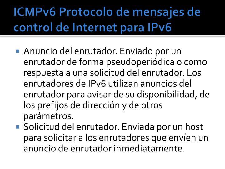 ICMPv6 Protocolo de mensajes de control de Internet para IPv6