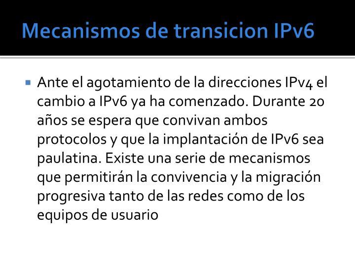 Mecanismos de transicion IPv6