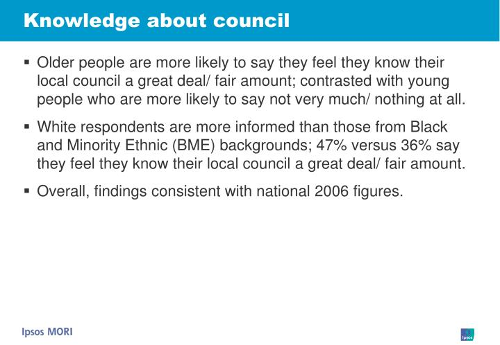 Knowledge about council