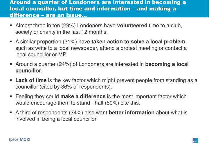 Around a quarter of Londoners are interested in becoming a local councillor, but time and information – and making a difference – are an issue…