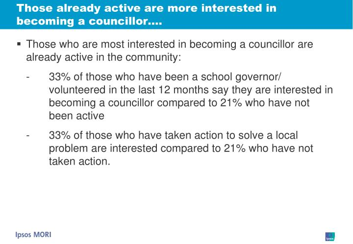 Those already active are more interested in becoming a councillor….