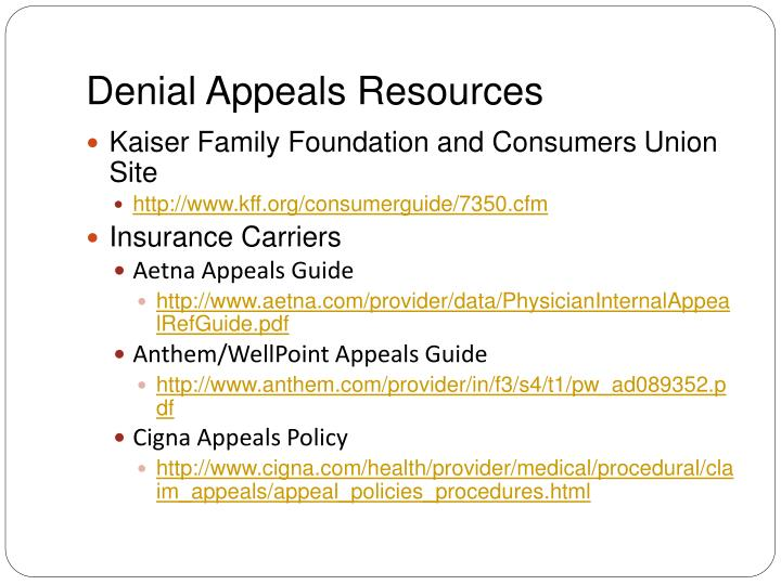 Denial Appeals Resources