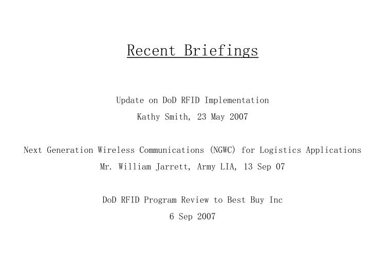 Recent Briefings