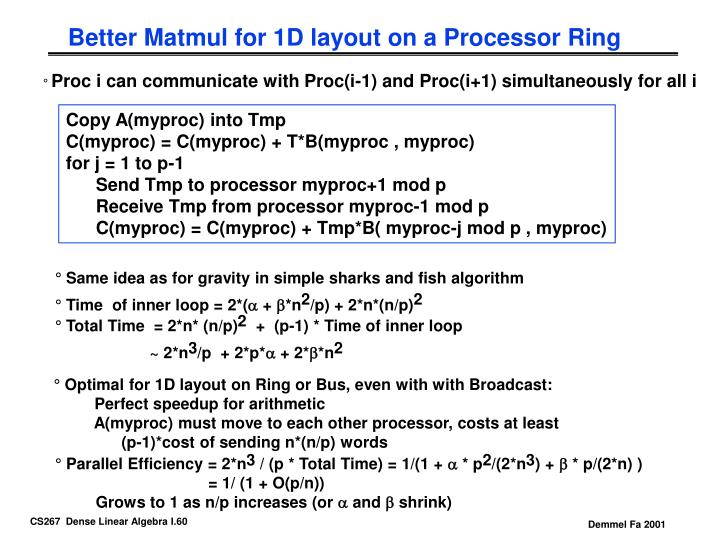 Better Matmul for 1D layout on a Processor Ring