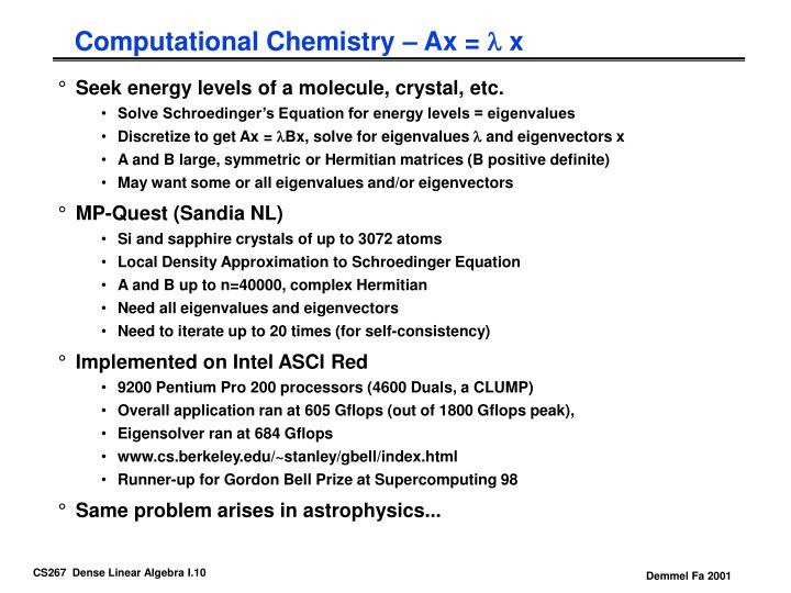 Computational Chemistry – Ax =