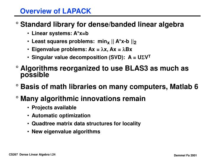 Overview of LAPACK