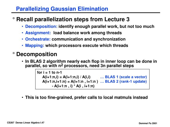Parallelizing Gaussian Elimination