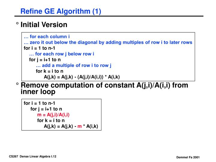 Refine GE Algorithm (1)