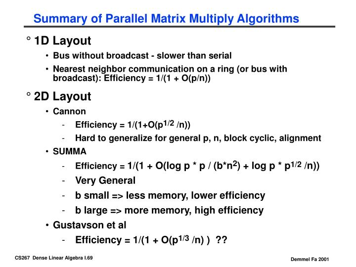 Summary of Parallel Matrix Multiply Algorithms