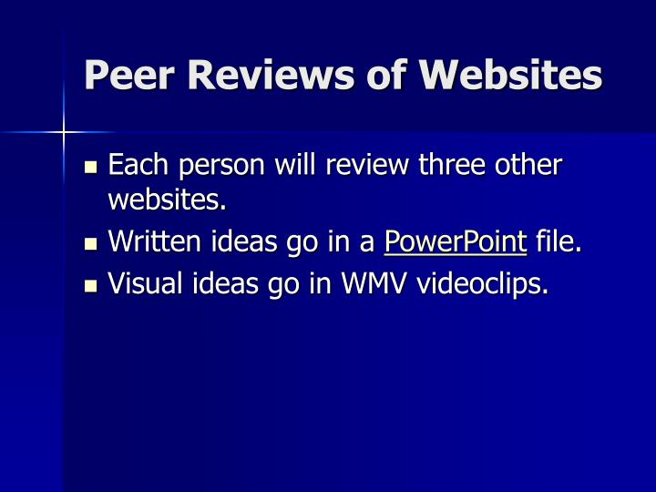 Peer Reviews of Websites