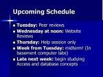 upcoming schedule