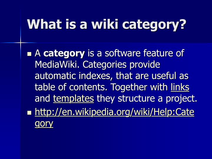 What is a wiki category?