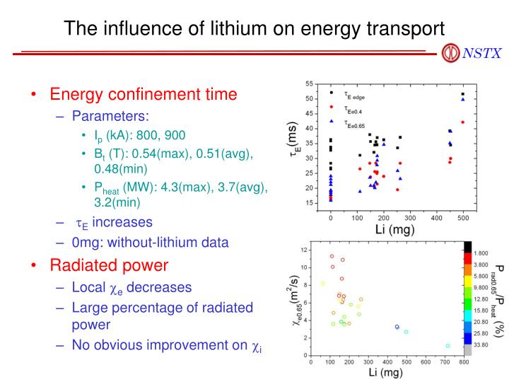 The influence of lithium on energy transport