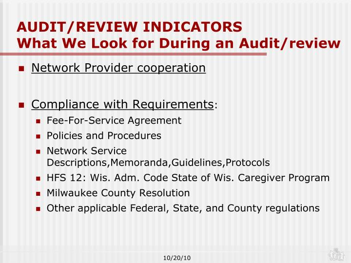 AUDIT/REVIEW INDICATORS