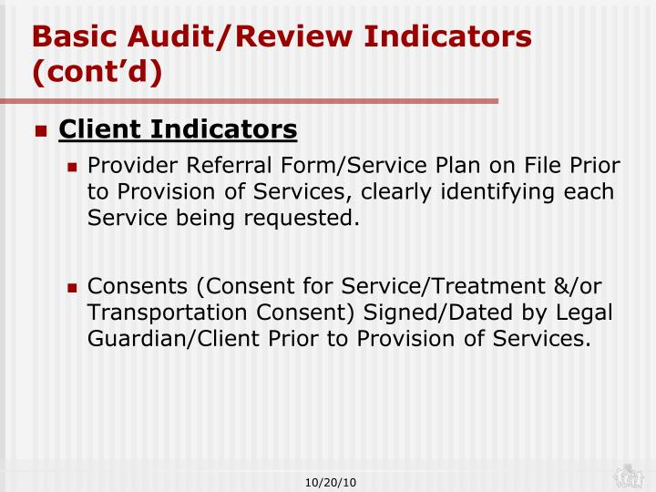 Basic Audit/Review Indicators