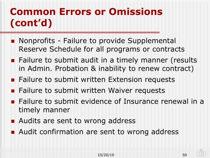 Common Errors or Omissions (cont'd)