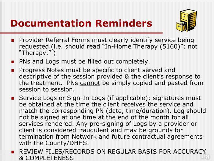 Documentation Reminders