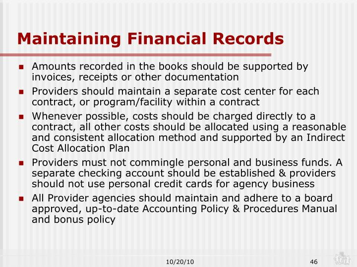 Maintaining Financial Records