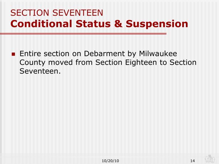 SECTION SEVENTEEN