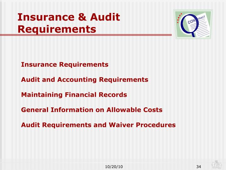 Insurance & Audit Requirements