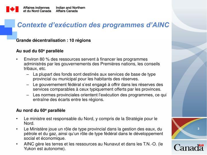 Contexte d'exécution des programmes d'AINC